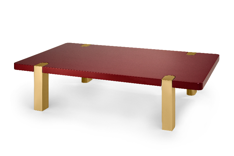 Bordeaux Red Chapman Coffee Table brass