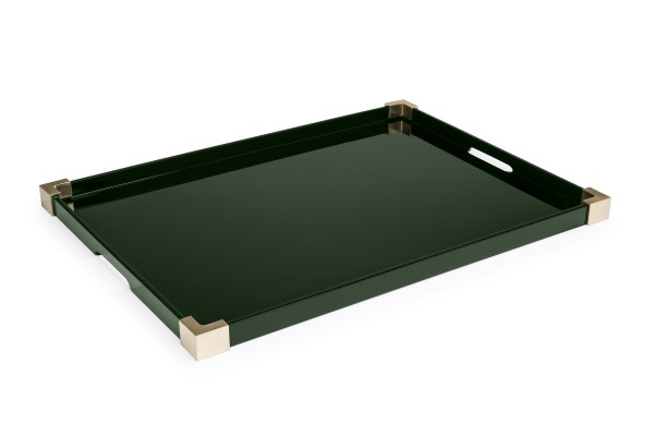 Brass corners tray in Bottle Green