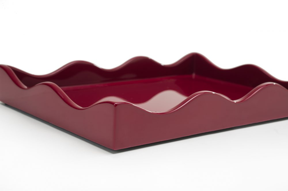Small Belles Rives Tray Bordeaux Red