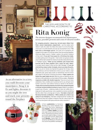 Rita Konig House and Garden December 2016 column