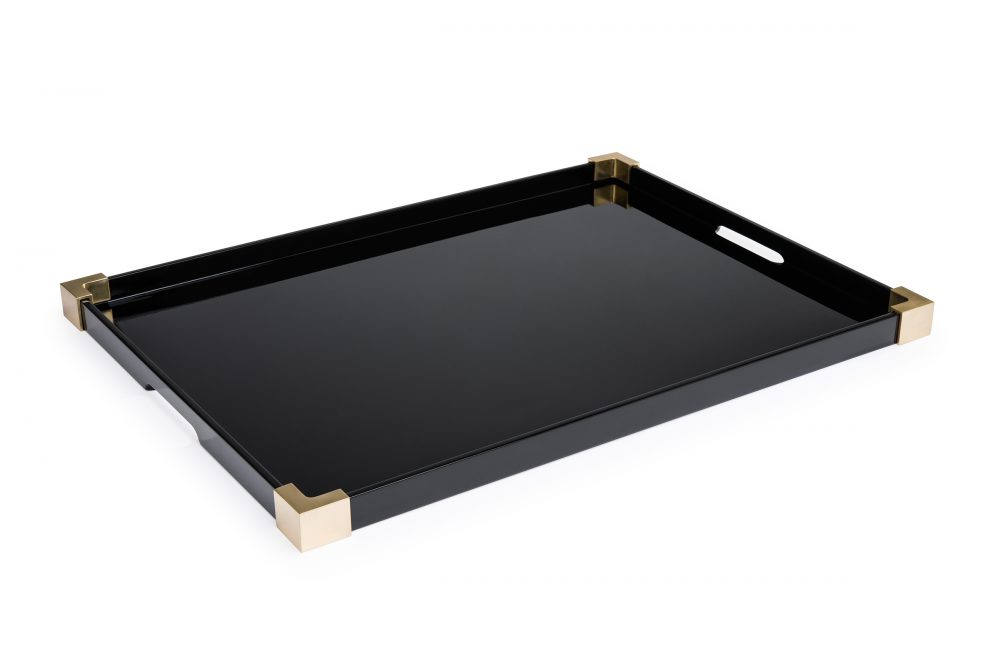 Black brass Corners Tray