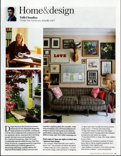 Rita Konig Telegraph Saturday magazine