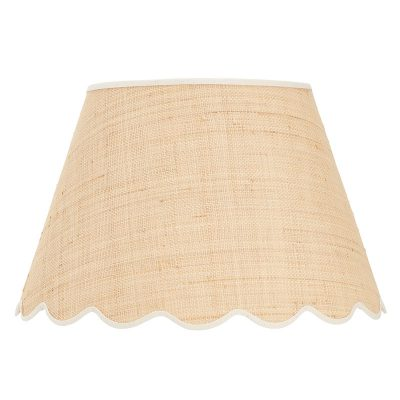Scallop raffia lampshade with red cotton trim 14 rita konig scallop raffia lampshade with cream cotton trim 16 mozeypictures Gallery